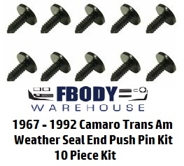 1967 - 1992 Camaro Trans Am Weather Seal Retainer Clips 10 pc