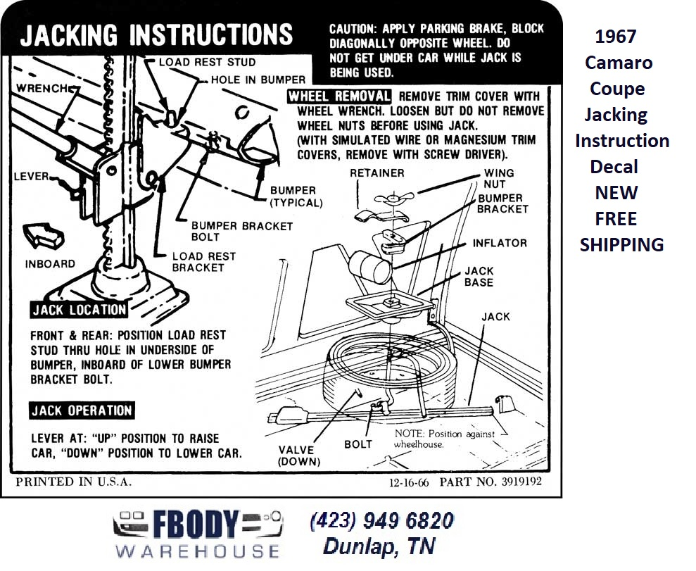 1967 Camaro Coupe Trunk Jack Instruction Decal New 39909124 Typical Inboard Wiring Diagrams