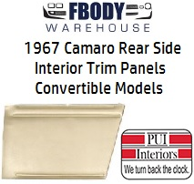 1967 Camaro Standard Rear Interior Panels Convertible 5 Colors Available