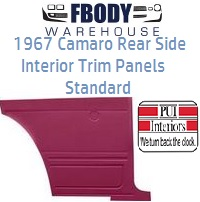 1967 Camaro Standard Rear Interior Panels Hard Top 5 Colors Available