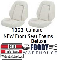 1968 Camaro New Replacement Seat Foam Front Buckets Deluxe