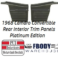1968 Camaro Standard Rear Interior Panels Convertible 5 Colors Available PLATINUM EDITION