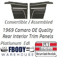 1969 Camaro Convertible Standard Rear Interior Trim Panels 6 Available Colors PLATINUM EDITION Assembled