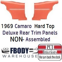 1968 - 1969 Camaro Hard Top DELUXE Rear Interior Panels 11 Colors NON Assembled