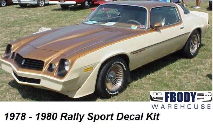 1978 1979 1980 Camaro Rally Sport Decal Kit