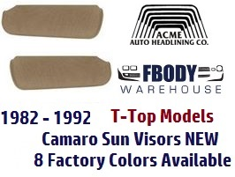 1982 - 1992 Camaro Sun Visors New 13 Colors T-Top Convertible ACME