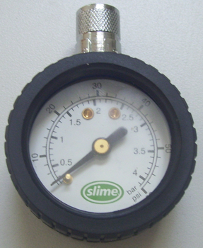 Tire Gauge in Chrome or with Protective Rubber Non-slip sheath.