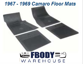 1967 - 1969 Camaro Rubber Floor Mats with Chevy Bowtie OEM 4 piece