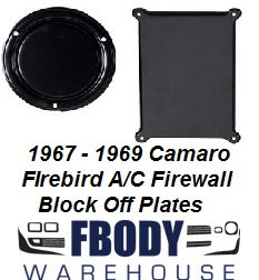 1967 - 1969 Camaro Firebird Air Conditioning BLACK Outer Heater & Fan Delete Plates
