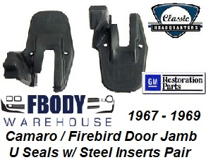 "1967 - 1969 Camaro Firebird Door Jam Weather Seals Door Ledge ""U"" Seals by Classic Headquarters"