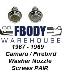 1967 - 1969 Camaro Firebird WIndshield Washer Nozzle Retainer Bolts Kit