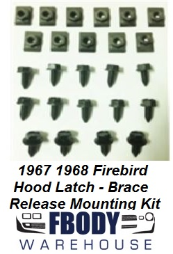 1967 - 1969 Firebird Hood Release Latch & Brace Bolt Kit Mounting Hardware Set