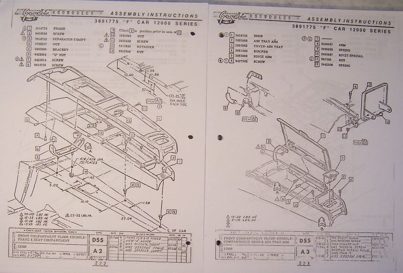 1967 Camaro Cetner Console Exploded View