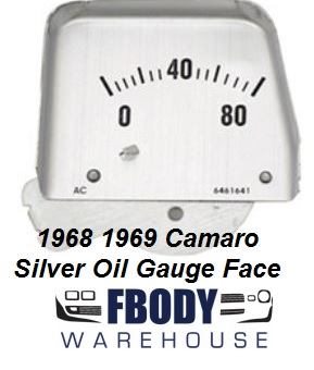 1968 1969 Camaro Center Console Mounted Oil Pressure Gauge Silver FACE PLATE