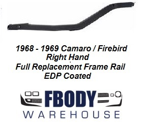 1968 - 1969 Camaro Firebird Rear Frame Rail R/H Passenger Side
