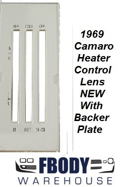 1969 Camaro Heater Control Lens BLACK Letters w/ White Backer NON a/c