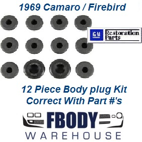 1969 Camaro Firebird Body Plug Kit 12 pc