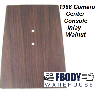 1968 Camaro Center Console Forward Woodgrain Inlay Walnut