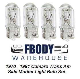 1970 - 1981 Camaro Trans Am Side Marker Light Bulb Set