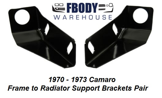 1970 - 1973 Camaro Vertical Radiator Support to Frame Brackets