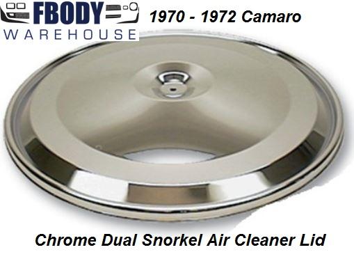 Camaro Dual Snorkel Air Cleaner : Camaro dual snorkel air cleaner lid new chrome