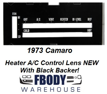 1973 Camaro Heater Control Lens WHITE Letters w/ Backer WITH Air Conditioning
