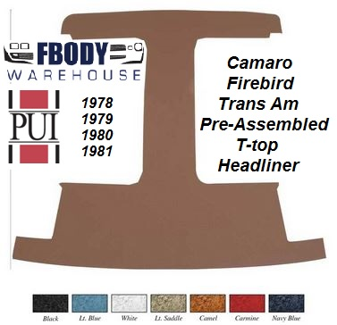 1978 - 1981 Camaro Trans Am T-top Headliner Board with Material NEW Fully Assembled ready to Install!