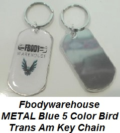 Fbodywarehouse 5 Color Trans Am Metal Key Chain LIMITED EDITION