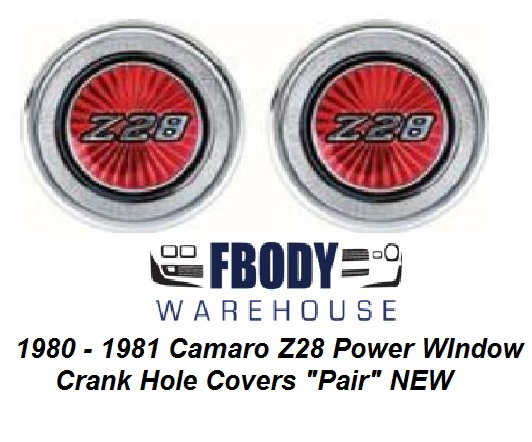 1980 - 1981 Camaro Z28 Power Window Crank Hole Cover Door Panel Emblems NEW PAIR