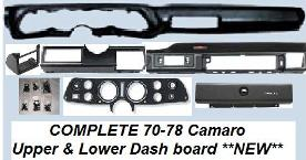 1970 - 1978 Camaro COMPLETE Upper & Lower Dash Board Set! NEW