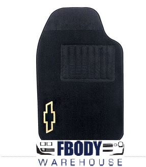 Camaro Floor Mats Black with Gold Chevrolet Bowtie 2 Pc