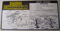 1974-1975 Camaro Jacking Instruction Decal