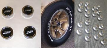 1980 - 1981 Camaro Z28 N-90 Aluminum Rims Center Cap + Lug Nut PACKAGE