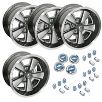 Camaro 17 Inch Custom Rally Style Wheel w/ Caps + Lugs 2 Styles! FULL PACKAGE! 1970 - 2002