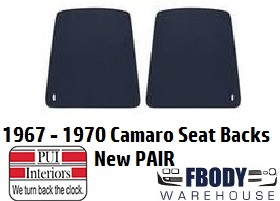 1967 - 1970 Camaro Bucket Seat Back Panels PAIR 7 Colors Available