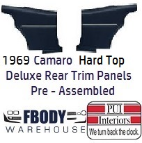 1968 -1969 Camaro Hard Top DELUXE Rear Interior Panels 11 Colors FULLY Assembled