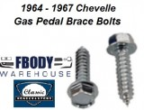 1964 - 1967 Chevelle Gas Pedal Brace Mounting Bolt Kit