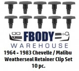 1964 - 1983 Chevelle / Malibu Weather Seal Retainer Clips 10 pc