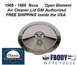 1966 - 1969 Nova Chrome Air Cleaner Lid for open element and cowl inducton models