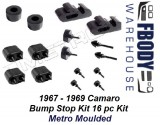 1967 - 1969 Camaro Body Bump Stop Kit 16 Pc Metro Moulded
