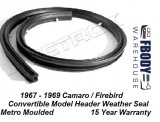 1967 - 1969 Camaro Firebird Header Weather Seal for Convertible Metro Moulded