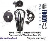 1968 - 1969 Weather Seal Kit Convertible Camaro / Firebird Metro Moulded