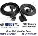 1967 Camaro Firebird Door Hull Weather Seals Metro Moulded