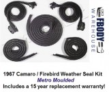 1967 Weather Seal Kit Hard Top Camaro / Firebird Metro Moulding