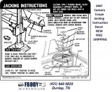 1967  Camaro Coupe Trunk Jack Instruction Decal NEW #39909124