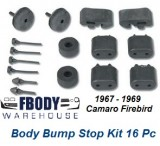 1967 - 1969 Camaro Firebird Body Bump Stop Kit 16 Pc