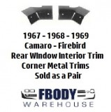 1967 - 1969 Camaro Firebird Rear Interior Trim Headliner Lower Corner Trims PAIR