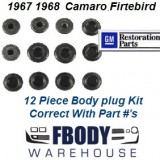 1967 - 1968 Camaro Firebird Body Plug Kit 12 Pc