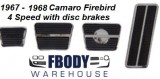* 1967 - 1968 Camaro Firebird Pedal Pad Kit 8 Pc 4 Speed WITH Disc Brakes