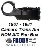 1967 - 1981 Camaro Trans Am NON A/C BLACK Outer Fan Box NEW